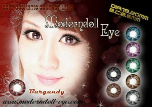 Modern Doll Eye burgundy 18.2mm
